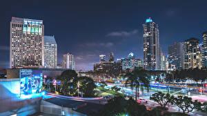 Photo USA Houses California Night San Diego Cities