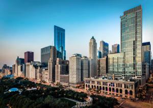 Photo USA Houses Chicago city Street Cities