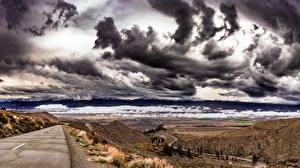 Bilder USA Wege Himmel Gewitterwolke Kalifornien Hügel Owens Valley Natur