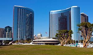 壁纸、アメリカ合衆国、カリフォルニア州、ホテル、草、San Diego, Hotel Marriott、都市、