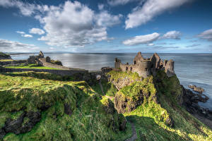 桌面壁纸,,英国,岸,城堡,廢墟,天空,岩,云,Northern Ireland, Dunluce Castle,大自然