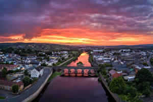 Image United Kingdom Rivers Bridges Building Sunrises and sunsets From above Strabane, Northern Ireland Cities