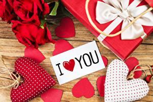 Обои День святого Валентина Сердце Подарки Английский Слово - Надпись Цветы картинки