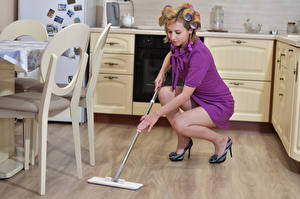 Wallpapers Kitchen Cleaning lady Dress Legs Victoria Borodinova Girls pictures images