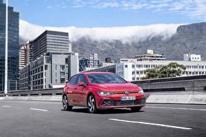 Bakgrundsbilder på skrivbordet Volkswagen Röd 2020 Golf GTI Worldwide bil