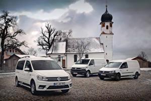 Bilder Volkswagen Weiß Drei 3 Caddy, Transporter Autos