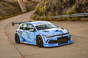 Wallpapers Volkswagen Tuning Light Blue 2020 Golf GTI GTC auto