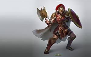 Wallpaper Warriors Men Shield Armor Battle axes arc noir, Clash of Civilizations Games