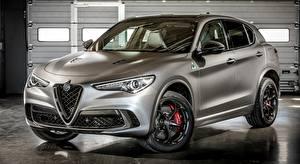 Hintergrundbilder Alfa Romeo Crossover Grau Metallisch Stelvio Quadrifoglio, NRING, 2018 auto