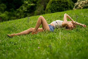 Desktop wallpapers Grass Lying down Legs Shorts Singlet Pantyhose Ana Girls