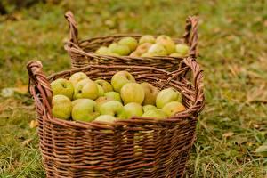 Hintergrundbilder Äpfel Weidenkorb