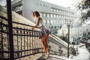 Images Legs Skirt Beautiful Fence Artem Soloviev, Tatiana Fesenko female