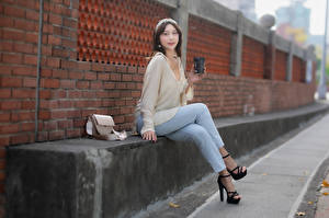 Image Asian Purse Sit Jeans Wall Made of bricks Glance female