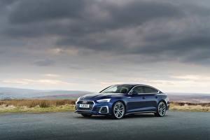 Wallpaper Audi Blue Metallic A5 Sportback 40 TFSI S line, UK-spec, 2020