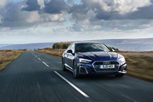 Photo Audi Roads At speed Blue Metallic A5 Sportback 40 TFSI S line, UK-spec, 2020 automobile