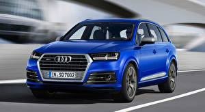 Papel de Parede Desktop Audi Crossover Azul Movimento Fundo desfocado Metálico SQ7 TDI, 2016 Carros