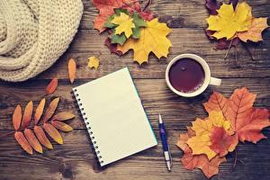 Fotos Herbst Tee Ahorn Notizblock Vorlage Grußkarte Bretter Kugelschreiber