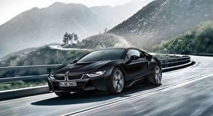 Sfondi desktop BMW Strade Veicolo ibrido Nero Sfondo sfocato i8, Frozen Black Edition, 2017 automobile