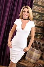 Pictures Bryoni-Kate Williams Blonde girl Dress Staring Smile Décolletage Hands Girls