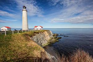 Photo Canada Coast Lighthouses Park Sky Forillon National Park Nature