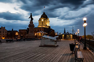 Photo Canada Evening Quebec Sculptures Monuments Bench Street lights Cities