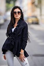 Picture Brunette girl Posing Eyeglasses Staring Blurred background Chiara female