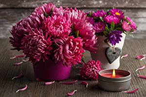 Bilder Chrysanthemen Blumensträuße Kerzen Kronblätter