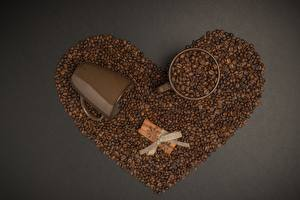 Wallpaper Coffee Cinnamon Grain Mug Heart Bow knot Gray background Food