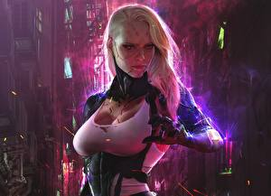 Pictures Cyberpunk Blonde girl Cyborg Robot Breast Girls