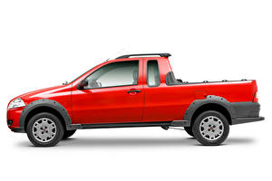 Pictures Fiat Pickup Red Metallic Side White background  auto