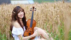 Bilder Felder Asiatische Violine Braunhaarige Lächeln Blick Sitzend Unscharfer Hintergrund Chinese junge Frauen