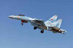Images Fighter Airplane Airplane Sukhoi Su-35 Russian Side Su-35S
