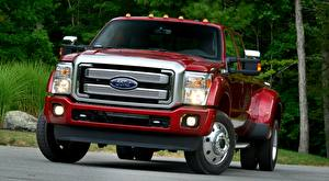 Hintergrundbilder Ford Pick-up Rot Vorne F-450, Super Duty Platinum Crew Cab, 2015 automobil