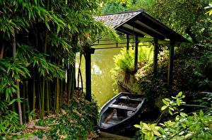 Papel de Parede Desktop França Atracadouros Barcos Rios Bambu  Naturaleza
