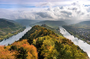 Pictures Germany Autumn Rivers Hill Clouds From above river Moselle Nature