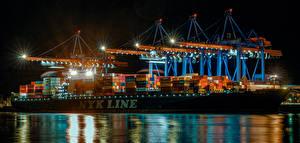 Photo Germany Hamburg Berth Ships Container ship Night time Street lights