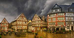Pictures Germany Houses Fountains Street Cafe Wetzlar, Hesse Cities