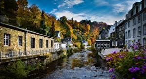 Bilder Deutschland Gebäude Flusse Bäume Monschau Städte