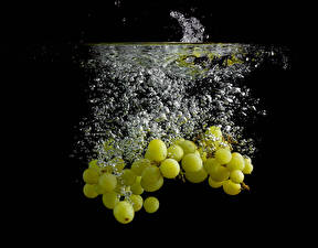 Pictures Grapes Water Black background Water splash Water bubbles Food