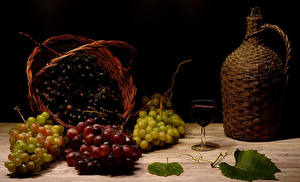Images Grapes Wine Still-life Jugs Wicker basket Stemware Food