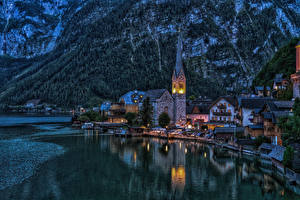 Images Hallstatt Austria Coast Building Berth Church Night time Cities
