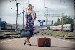 Images Purse Blonde girl Frock Suitcase Pose Victoria Borodinova, railway station Girls