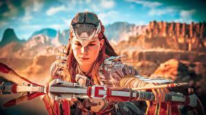 Bakgrunnsbilder Horizon Zero Dawn Kriger Bueskytter Bue våpen Aloy 3D_grafikk