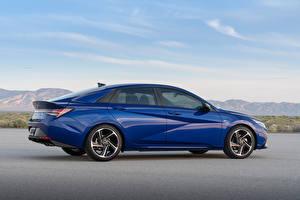 Fotos & Bilder Hyundai Blau Metallisch Seitlich Elantra N Line CN7, 2020 Autos