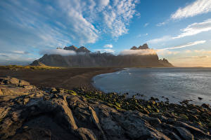 Wallpapers Iceland Mountains Stones Sky Clouds Vestrahorn Nature