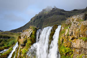 Pictures Iceland Mountains Waterfalls Crag Moss Nature