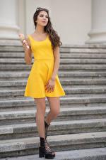 Wallpaper Stairway Frock Yellow Ice cream cone Iliana Girls