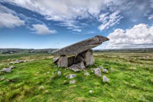 Fondos de escritorio Irlanda Piedra Cielo Hierba Nube Kilclooney Dolmen Naturaleza