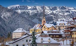 Pictures Italy Mountain Church Building Alps Santa Cristina Valgardena, Dolomites Cities