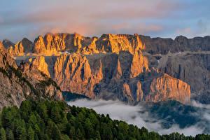 Pictures Italy Mountain Cliff Alps Dolomites, Trentino-Alto Adige Nature
